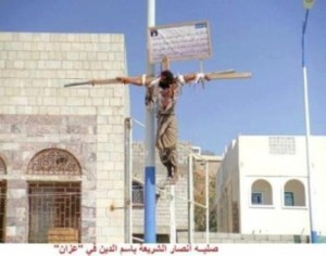 First Egypt and now in Yemen: Shocking video evidence of Islamic crucifixions Yemen-300x236